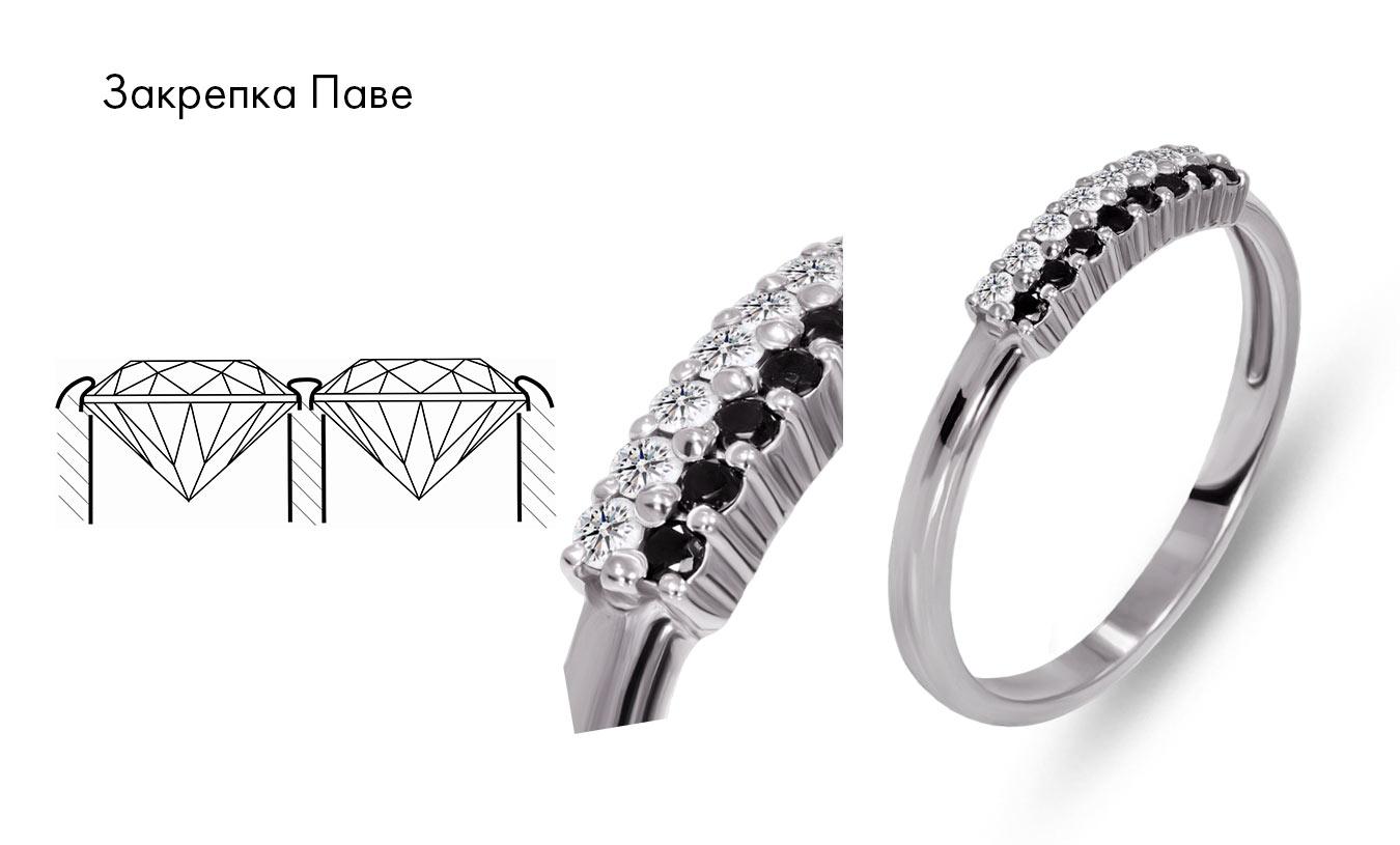 кольцо с дорожкой бриллиантов, закрепка паве