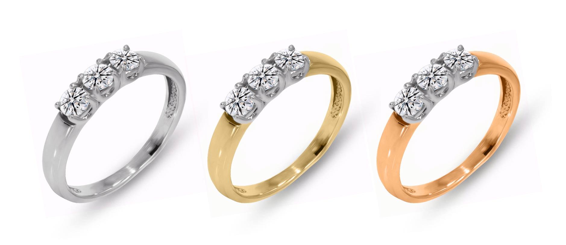 каблучка, доріжка діамантів, золото біле, жовте, червоне.
