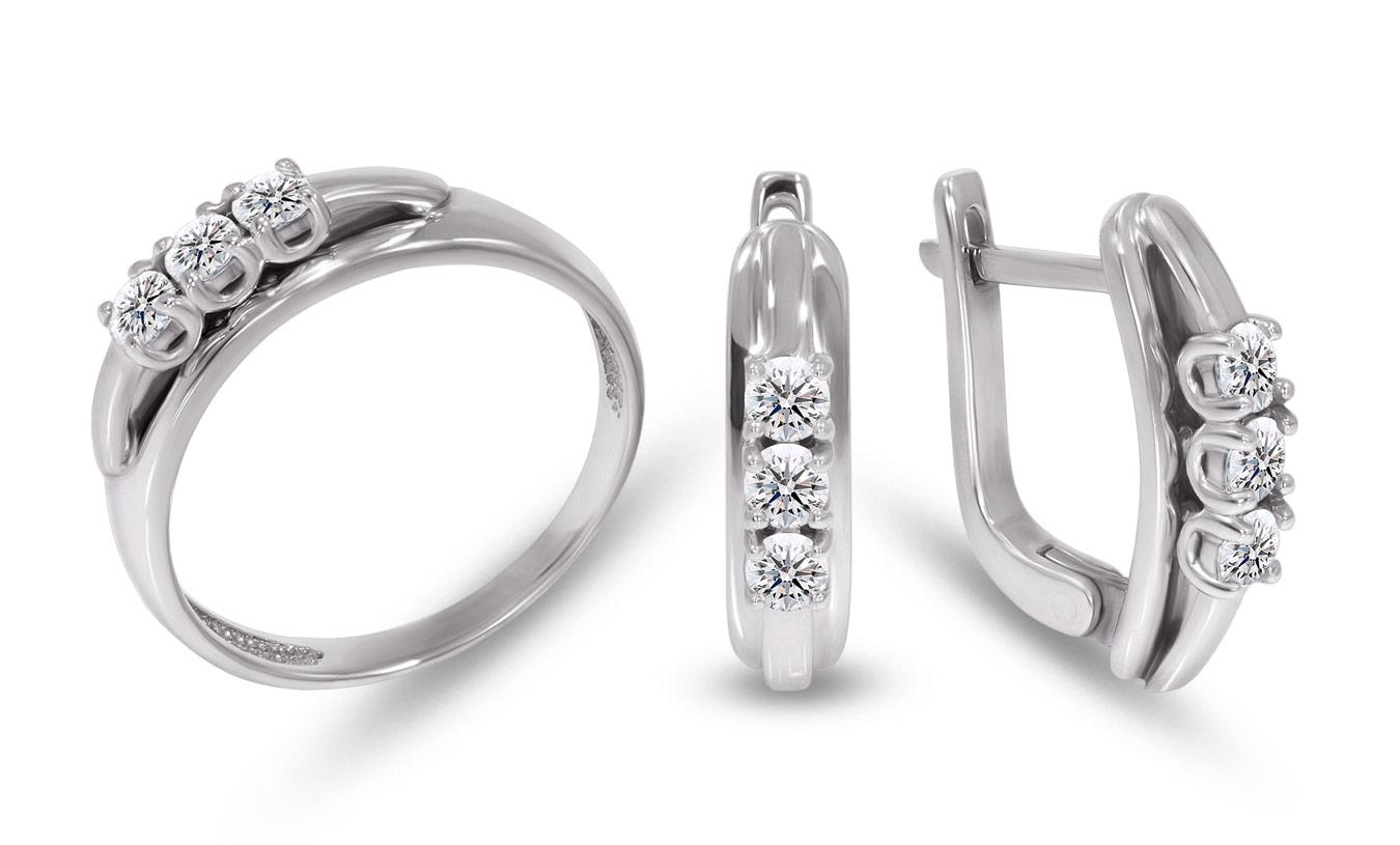 каблучка і сережки із золота з доріжкою діамантів