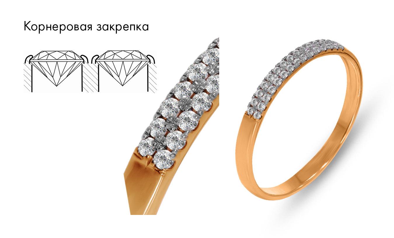 Кольцо с бриллиантами, закрепка камней корнеровая.