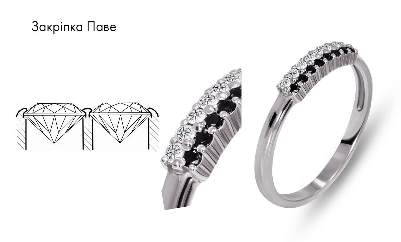 каблучка з доріжкою діамантів, закріпка паве