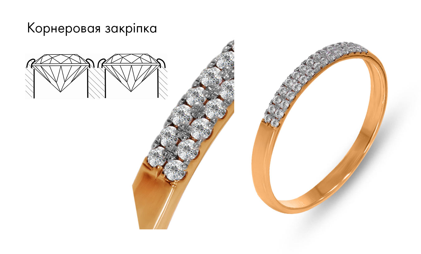 Золота каблучка з діамантами, закріпка каменю корніровая.