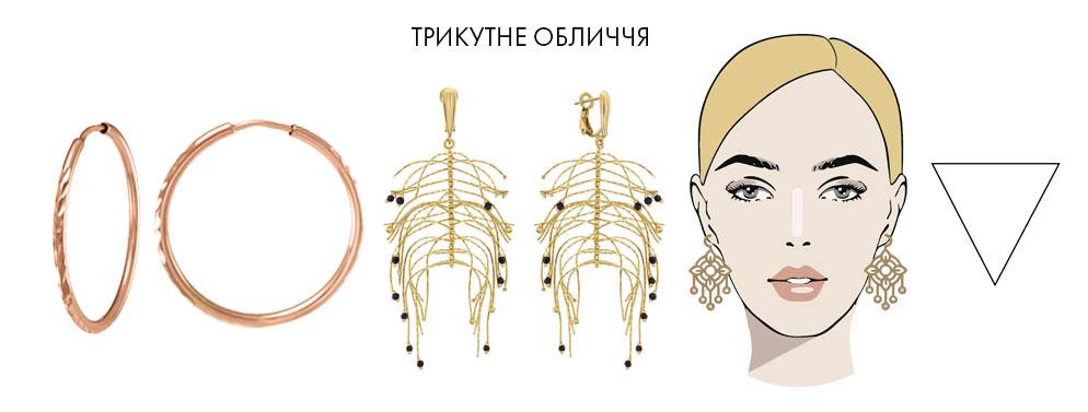 Для трикутної форми обличчя види сережок