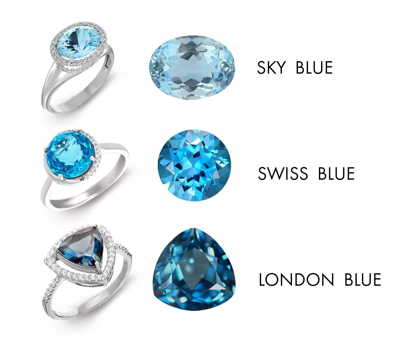Каблучка, біле золото з топазом Sky Blue, Swiss Blue и London Blue