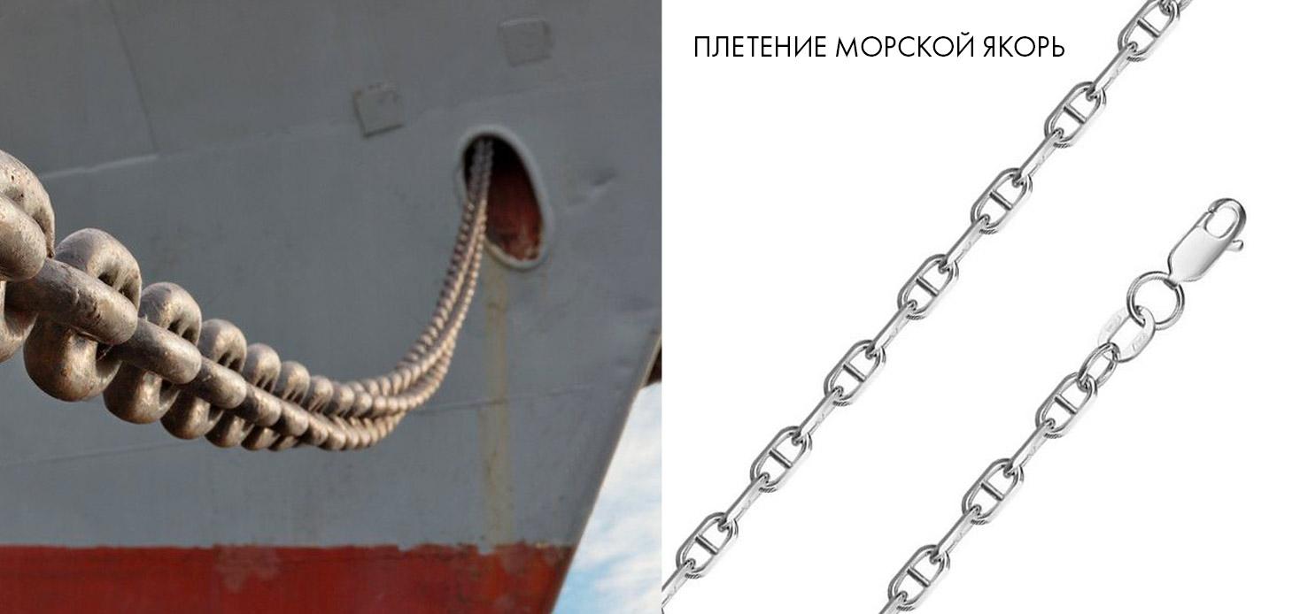 серебряная цепочка, плетение морской якорь