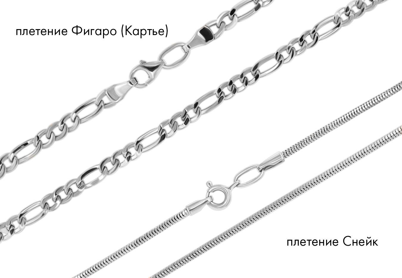 цепочка серебряная, плетение Фигаро (Картье) и Снейк