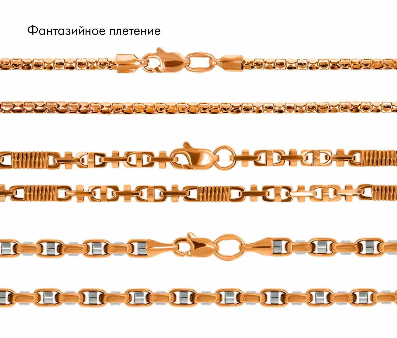 цепочка золотая, плетения фантазийные