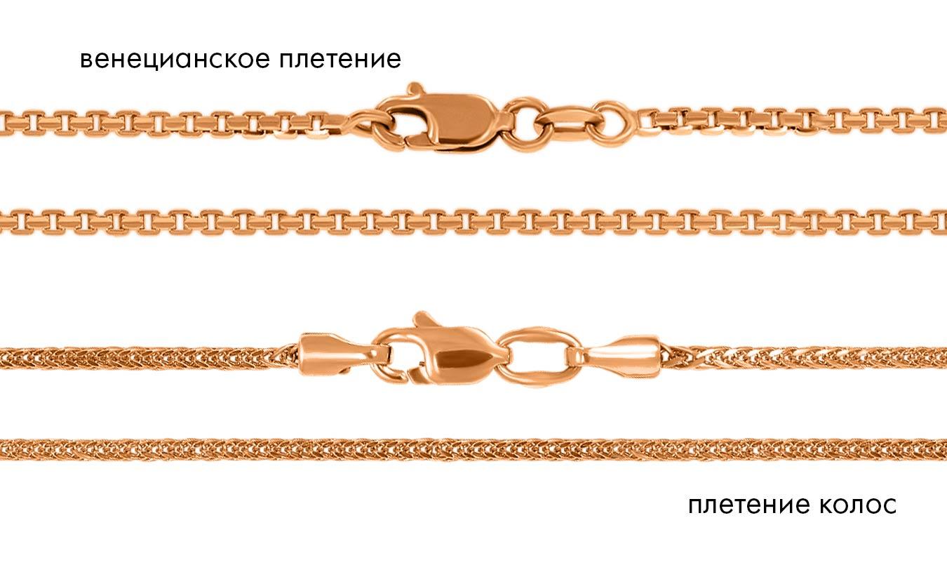 золотая цепочка венецианское плетение и плетение колосок