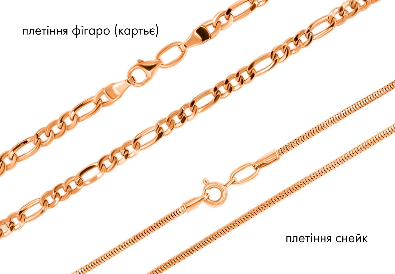 Золоті ланцюжки, тип плетіння Фігаро (Картьє) і Снейк.